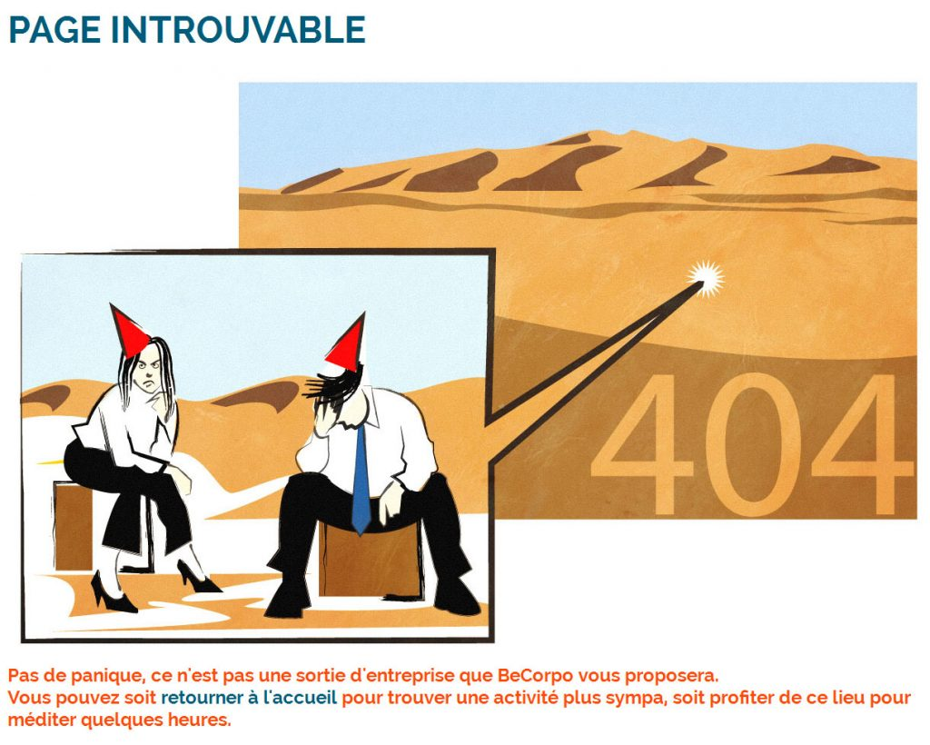 Page 404 du site internet Becorpo