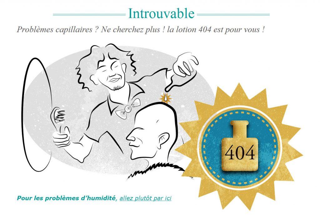 Page 404 du site internet Capiltech
