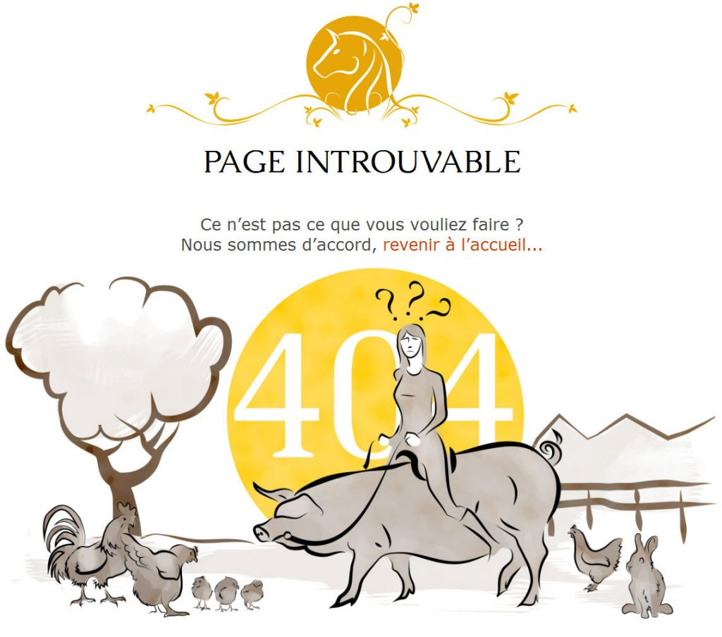 Page 404 du site internet des écuries des Rives de la Tour