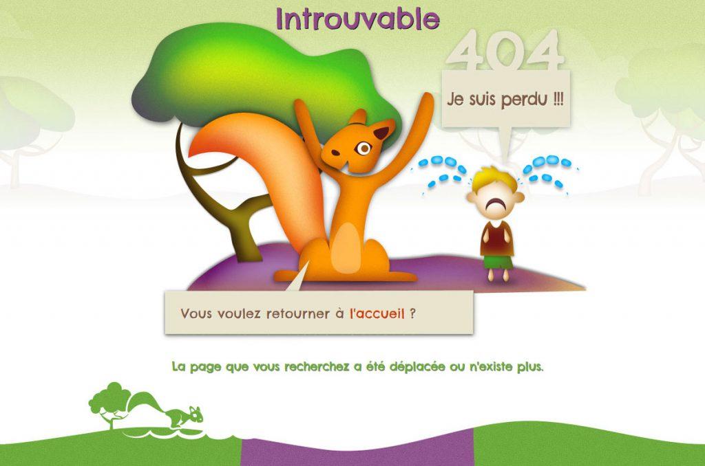 Page 404 du site internet du parc de loisirs le P'tit Délire