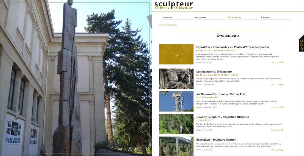 Page de liste du site du sculpteur Thierry Ollagnier